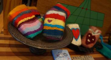 Stripes felted soaps